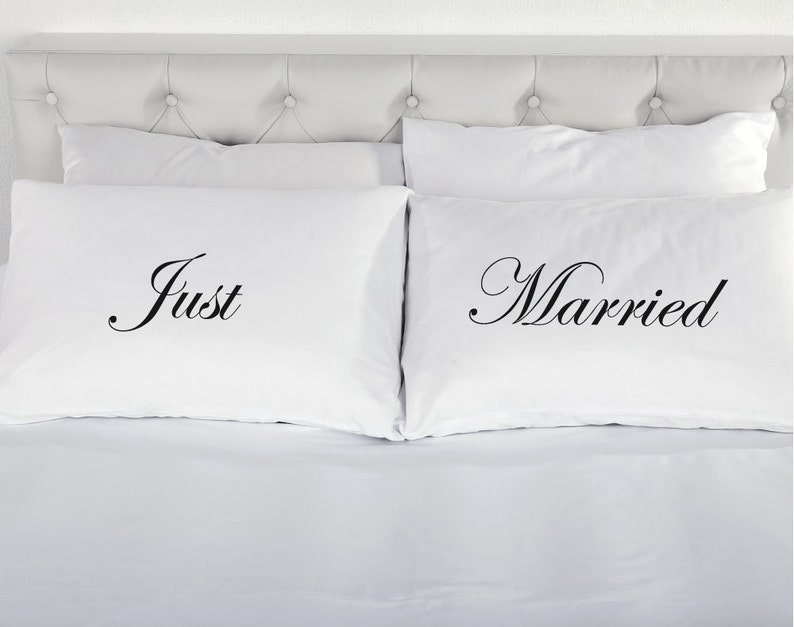 Just Married Pillowcases Printed Pillow Case Wedding Marriage Present Day  Bed 200 Thread Count 100% Cotton Excellent Quality