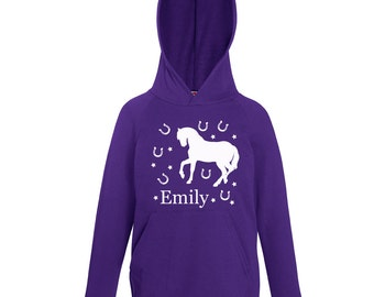 Personalized Horse Hoodie Personalised Name Purple From Age 1 to 13 Years Hoody Horseshoe