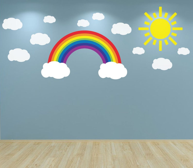 wall decal sun clouds and rainbow kids bedroom nursery | etsy