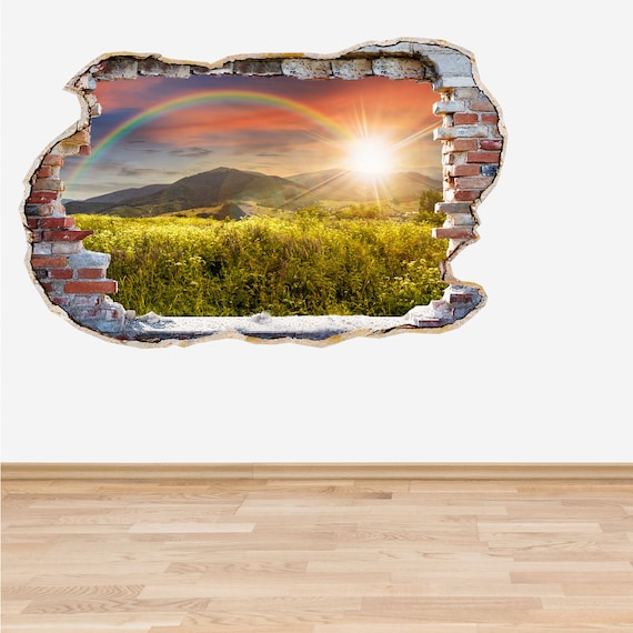 rainbow wall decal smashed wall rainbow 3d effect sticker   etsy