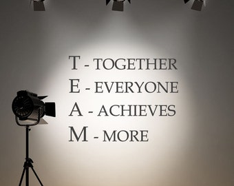 Wall Decal Team Motivational Quote Wall Sticker Inspirational Together Everyone Achieves More Work Force Office Gym