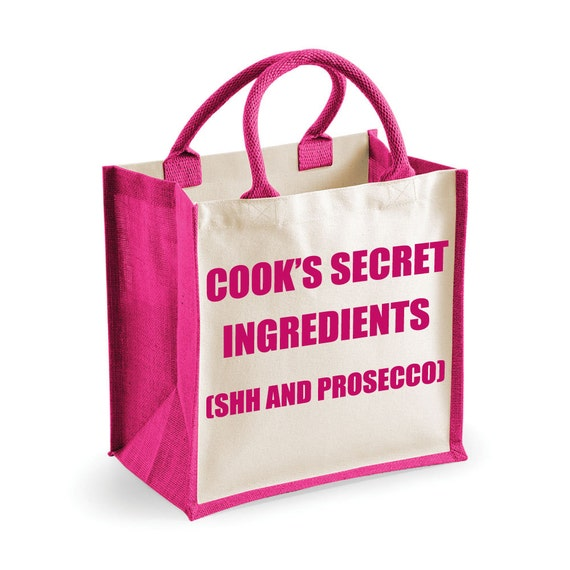 Large Jute Bag Reusable Prosecco Bag Shopping Bag Cooks Secret Ingredients Shh and Prosecco