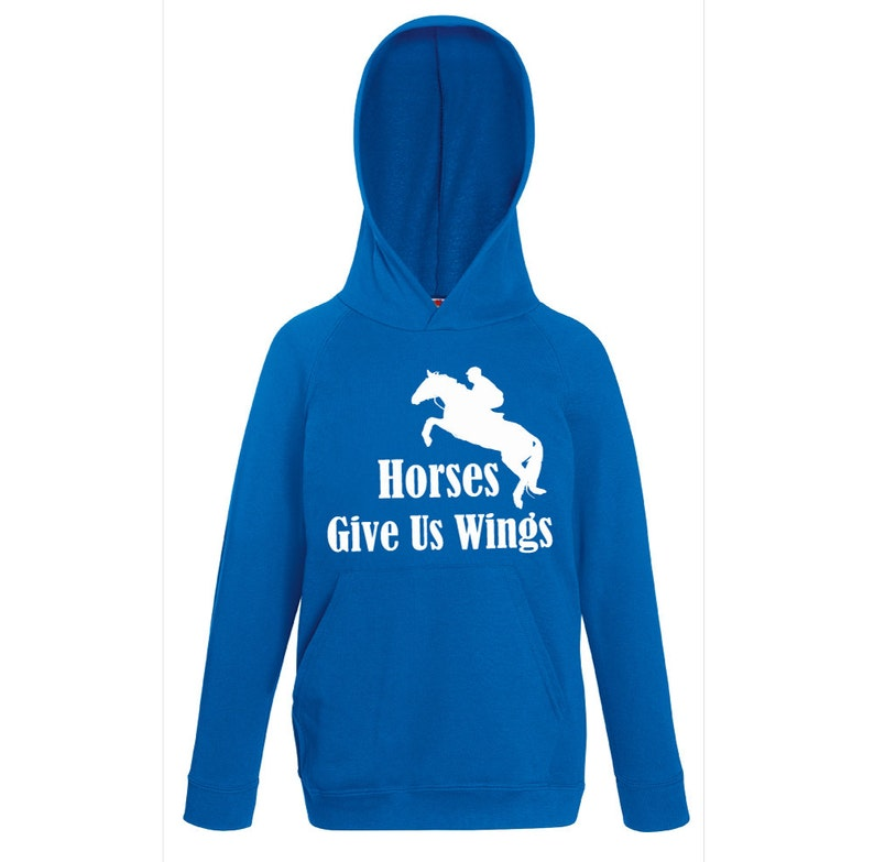 Kids Horse Hoodie Horses Give Us Wings Royal Blue From Age 1 to 13 Years Hoody Horse
