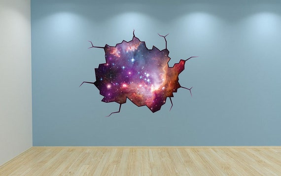 Galaxy Wall Decal Outer Space Sticker Mural Outer Space Etsy