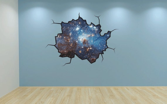 stars wall decal galaxy sticker mural outer space cracked wall | etsy