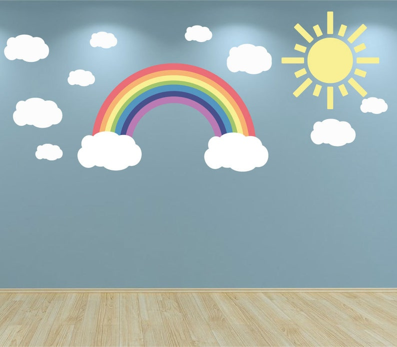 wall decal sun clouds and rainbow pastel colours kids bedroom | etsy