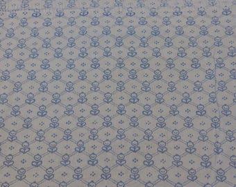 Laura Ashley 1976 Vintage Blue Cotton Geometric Print Fabric 95cm