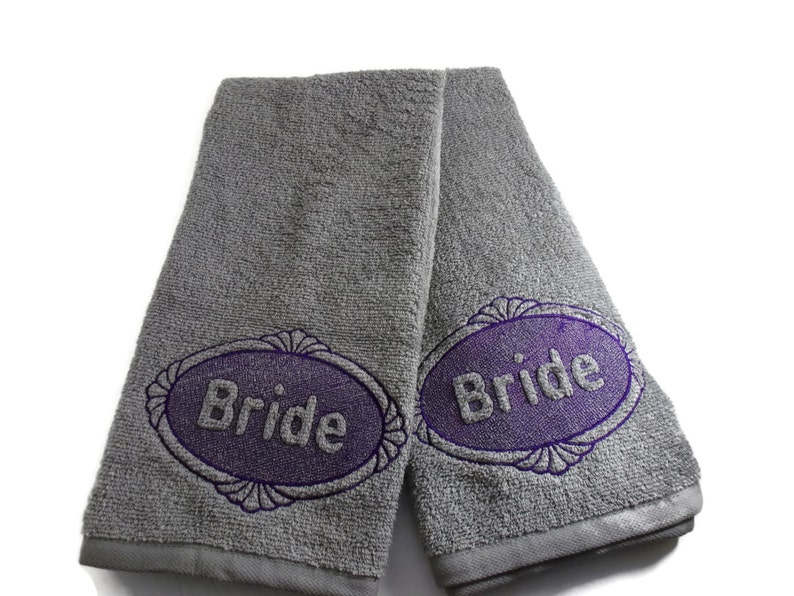 Two Brides Wedding Embossed Hand Towels. Embroidered Wedding image 0