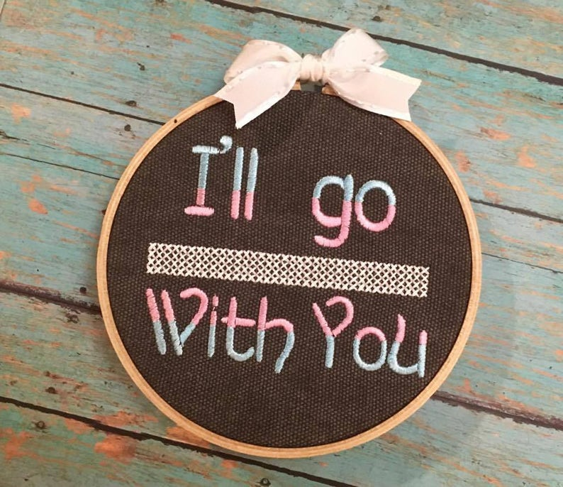 needle work Trans rights embroidery hoop cross stitch, human rights resist protect transgender kids bathroom law I/'ll go with you