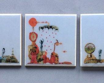 3 Ceramic tiles - Ages of Woman