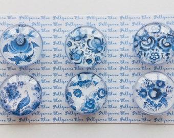 6 Blue Floral Magnets