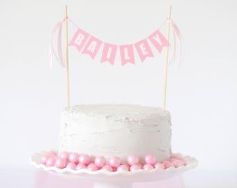 Light Pink White Name Cake Topper