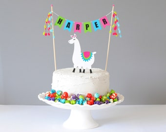Personalized Llama Birthday Cake Topper