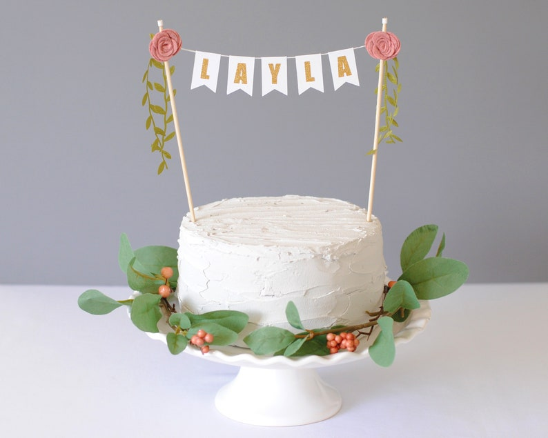 Girls Birthday Cake Topper Boho For