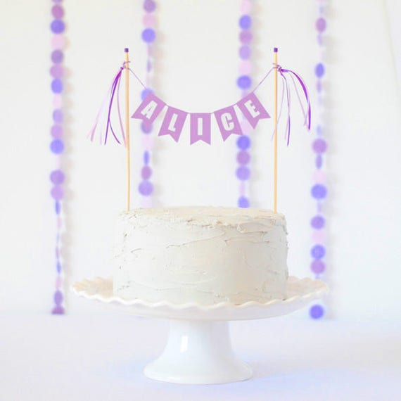 Amazing Purple Birthday Cake Topper Purple Party Decor Purple Name Etsy Personalised Birthday Cards Rectzonderlifede