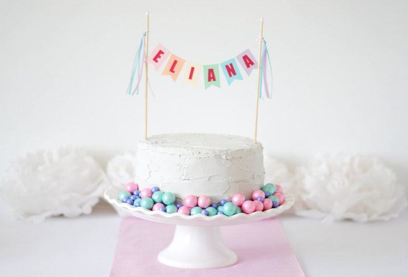 Pastel Rainbow Birthday Party Custom Name Cake Topper