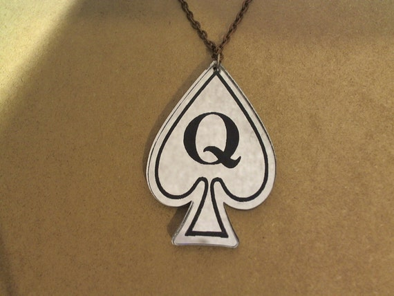 Queen of Spades laser cut mirrored acrylic swinger lifestyle necklace 18 silver chain