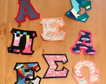 CUSTOMIZABLE GREEK LETTERS/sewable • iron on adhesive • choose your letters