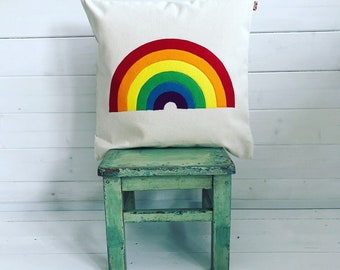 Rainbow cushion cover | rainbow pillow | rainbow pride | rainbow home decor | rainbow nursery decor | rainbow pride | rainbow baby