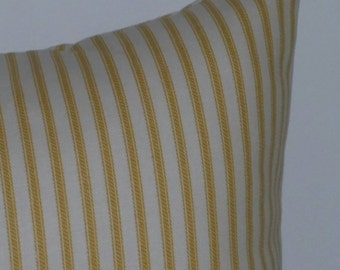 Gold ticking pillow cover, pillow cover, stripe pillow, shower gift, country pillow,