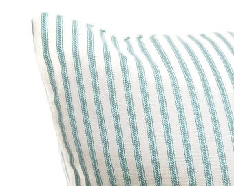 Aqua ticking pillow cover, pillow cover, stripe pillow, shower gift, country pillow, teal pillow, aqua pillow cover, teal pillow cover