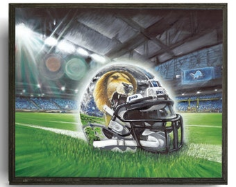 8x10 plaque Detroit Lions Detroit Lions Painting Detroit Wall Art Sports Art & Detroit lions wall art   Etsy