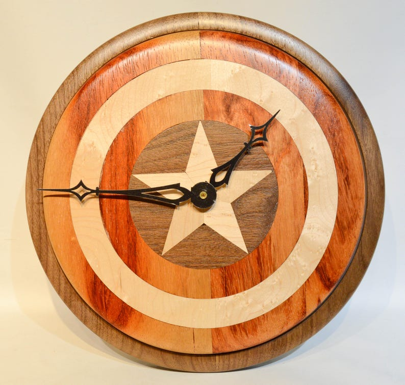 Captain America Shield Wood Clock With Led Lighting