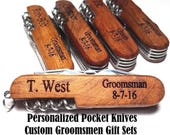 Personalized Groomsmen Gift Pocket Knife Engraved Wood Wedding Bottle Opener Groomsman Gifts Best Man Usher Corkscrew Jack Knife