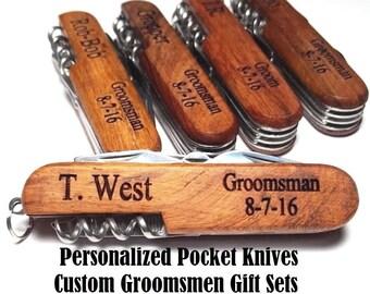 Personalized Groomsmen Gift Pocket Knife Engraved Wood Wedding Bottle Opener Groomsman Gifts Best Man Usher Corkscrew Jack Knife