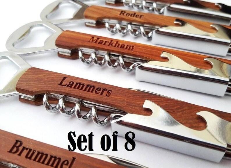 d5b0558f8b4d Groomsmen Gift Personalized Bottle Opener Corkscrew Set of 8
