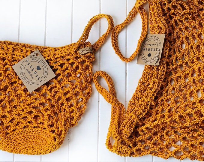 Set of Market Bag Handmade Crochet // Mini Kids Bag & Standard Size// Cinch Top// Cotton Market Bag // Canadian Made// Beach Bag
