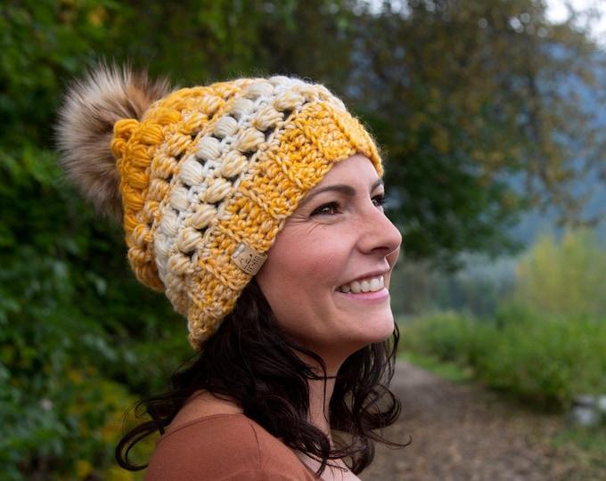 The Fairywren Beanie// Adult hat// Mens hat// Womens Hat// Wool Beanie// Crochet Toque// Bead stitch hat// Puff stitch//Yellow Cream Ombre//
