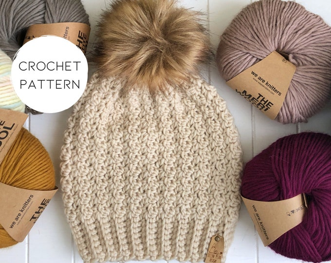 Crochet Pattern | The Winter Rose Beanie | Slightly Slouchy Toque | Texture Hat | Simple Design
