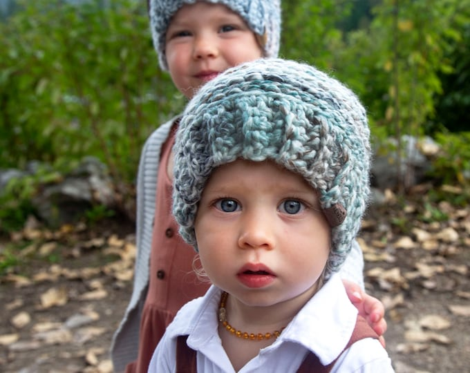 The Aurora Beanie// Toddler ~ Adult // Wool Acrylic Beanie// Crochet Toque// Seaglass//
