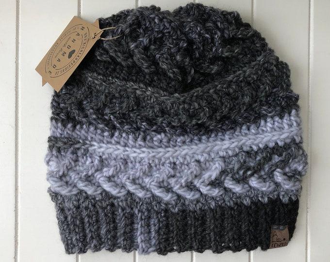 The Sparrow Beanie// ADULT// classic texture// Arrow Beanie// Unique Beanie// Wool Beanie// Crochet Wool Toque// Black White Grey// Contrast