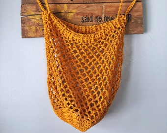 Market Bag Handmade Crochet // Cinch Top// Cotton Market Bag // Canadian Made// Beach Bag