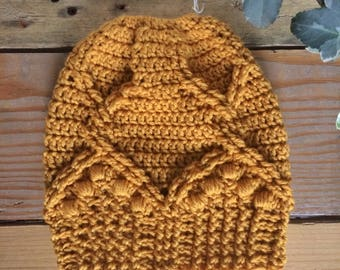Royal Twist Messy Bun Hat ~ Pure Merino ~ Adult
