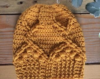 ba6f6c0de5f Royal Twist Messy Bun Hat   ADULT   Pure Merino wool   Cable Twist Beanie    Mum Bun Beanie   Crochet Cable Hat   Top Knot Hat   Ponytail Hat