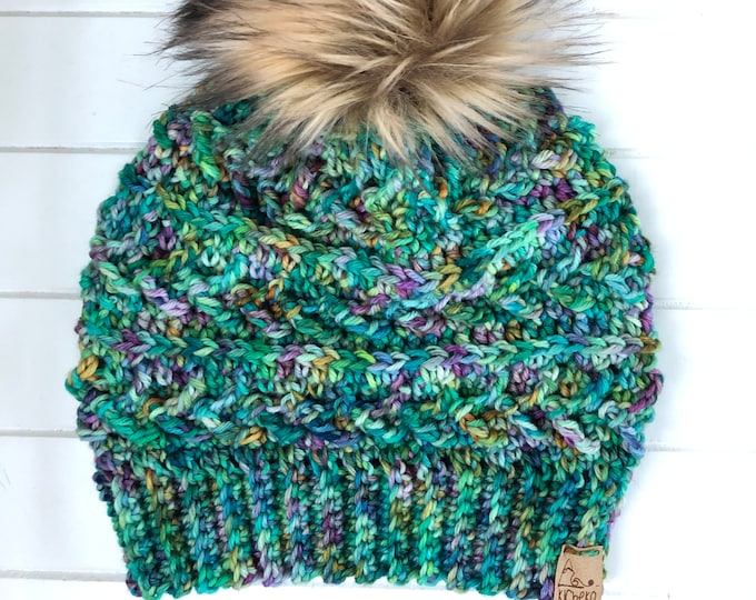 The LUXURY Sparrow Beanie// ADULT// Hand-dyed Superwash Merino// Indie-dyed// Crochet Wool Toque// Green Purple// Unique Textured Hat