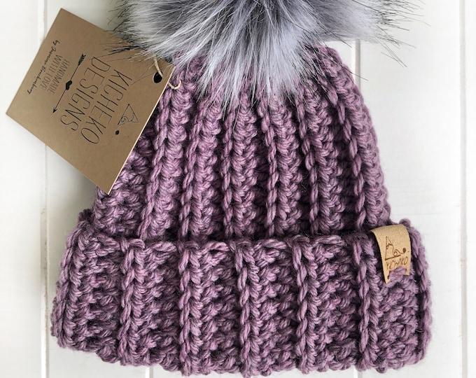 The Jessie Beanie// Newborn ~ Baby ~ Toddler ~ Child ~ Adult// Wool Beanie// Crochet Toque// Classic Hat// Fold over brim// Heathered LtPurp