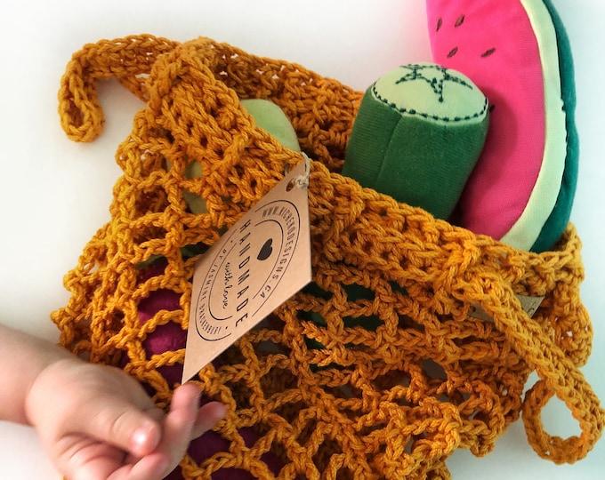Mini Market Bag// Market Bag Handmade Crochet // Cinch Top// Cotton Market Bag // Canadian Made// Childs Bag// Toddler Bag// Play Market Bag