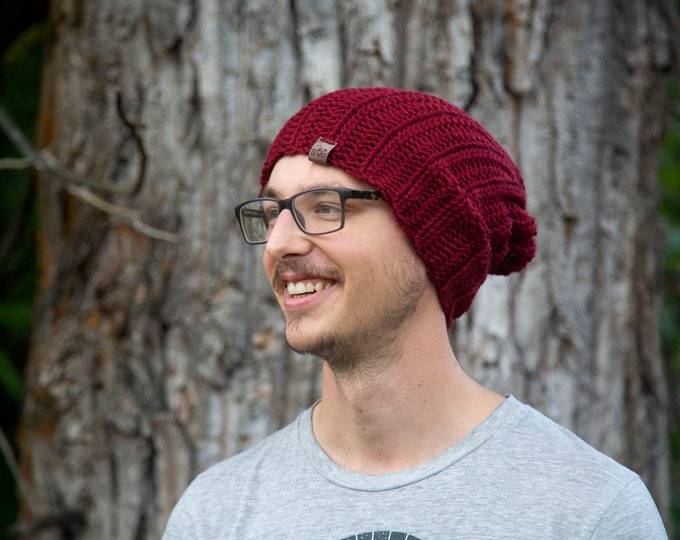 The Jessie Beanie// Newborn ~ Baby ~ Toddler ~ Child ~ Adult// Wool Beanie// Crochet Toque// Classic Hat// Fold over brim// Merlot
