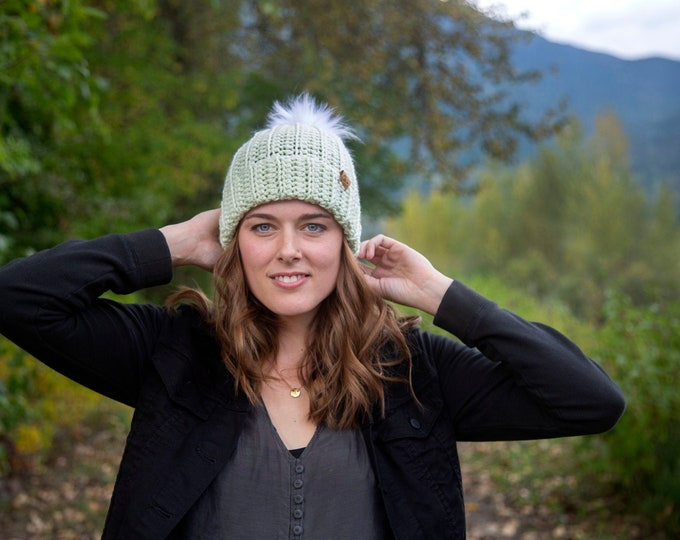 The Jessie Beanie// Newborn ~ Baby ~ Toddler ~ Child ~ Adult// Wool Beanie// Crochet Toque// Classic Hat// Fold over brim// Lime