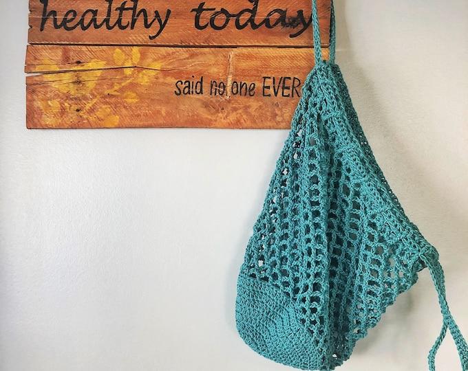 Market Bag Handmade Crochet // Cinch Top// Cotton Market Bag // Canadian Made// Beach Bag