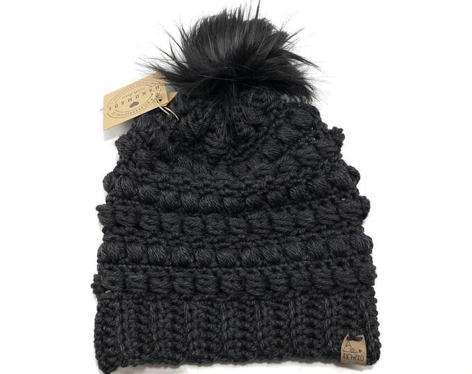 The Fairywren Beanie// ADULT// Mens hat// Womens Hat// Wool Beanie// Crochet Toque// Bead stitch hat// puff stitch hat// Charcoal Black