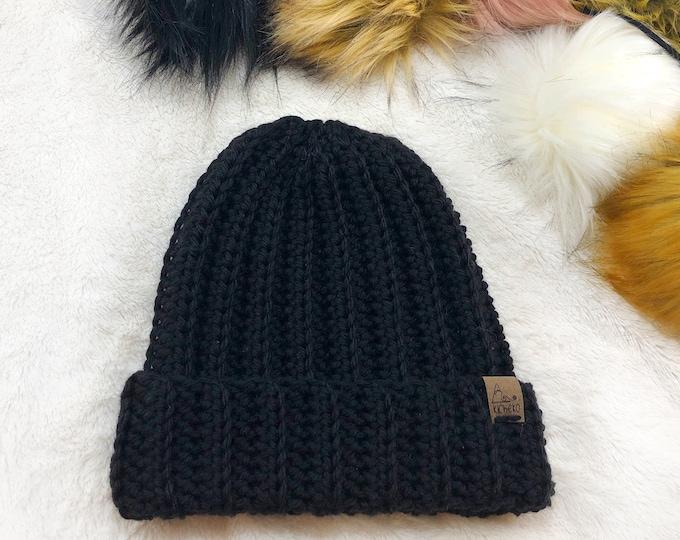 The Jessie Beanie// Newborn ~ Baby ~ Toddler ~ Child ~ Adult// Wool Beanie// Crochet Toque// Classic Hat// Fold over brim// Black