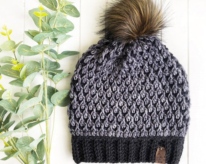 The Timberline Beanie // Adult // Hand-dyed Merino// Crochet Toque// Grey 2 tone//