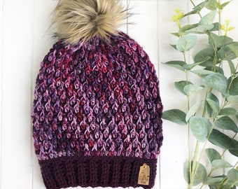 READY TO SHIP - Adult - The Timberline Beanie | Luxury Collection | Hand-dyed Merino | Crochet Toque | Dark Purple Pink | Textured | Unique