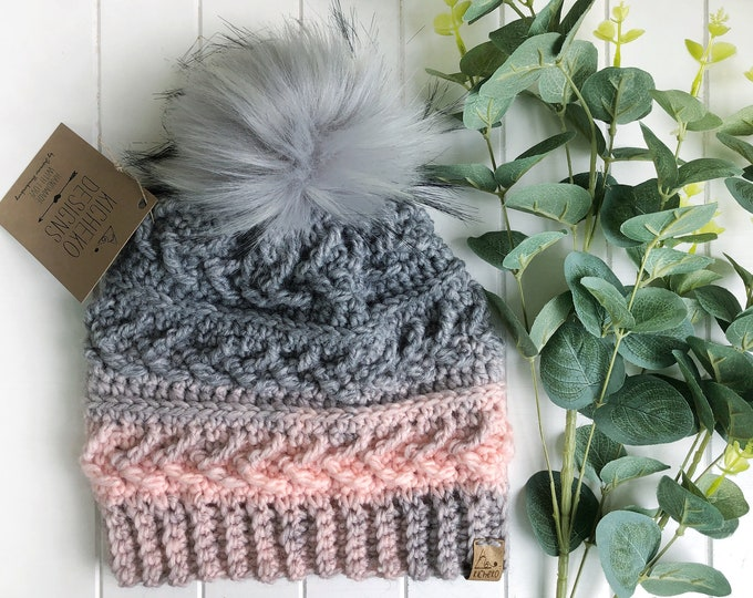 The Sparrow Beanie// ADULT// classic texture// Arrow Beanie// Unique Beanie// Wool Beanie// Crochet Wool Toque// Pink Grey Ombre