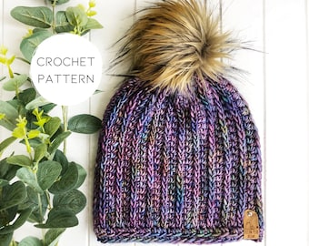 PATTERN - crochet   The Fresh Tracks Beanie   Fitted Toque   Classic Ribbed Beanie   Knit Look   Vertical Rib   Modern crochet pattern  